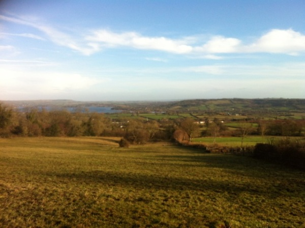 View of Chew Lake from halfway up the Mendips