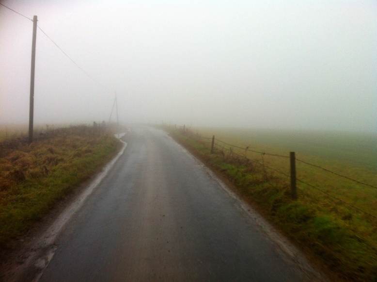 Eery riding shrouded in fog