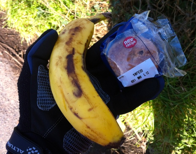 A quick banana and pork pie picnic was *burp* consumed mid-ride