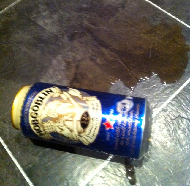 Disaster. Punctured beer