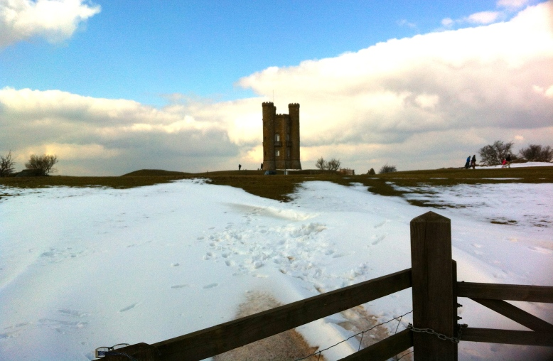 Broadway Tower on snowy Snowshill