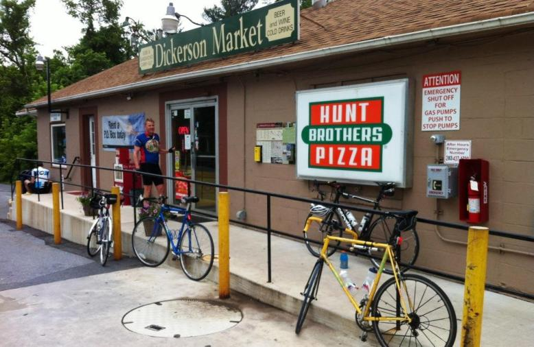 Grabbing refreshments at a cycle-friendly store