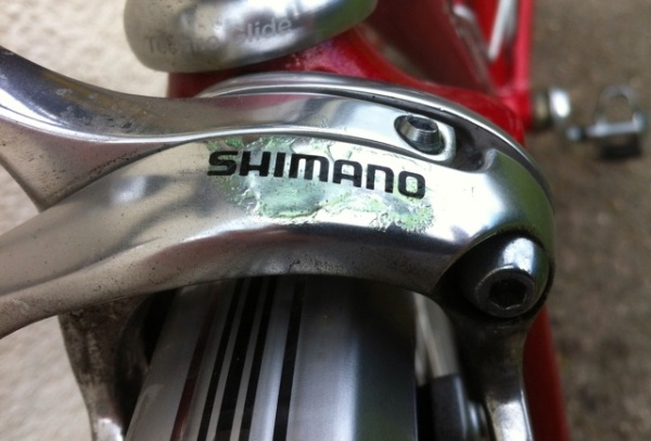 Shimano brakes with a coating of paint-stripper