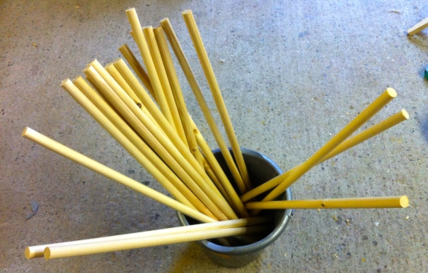 A bucket of dowels