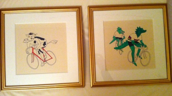 Cycling animals framed and ready for scaring the baby