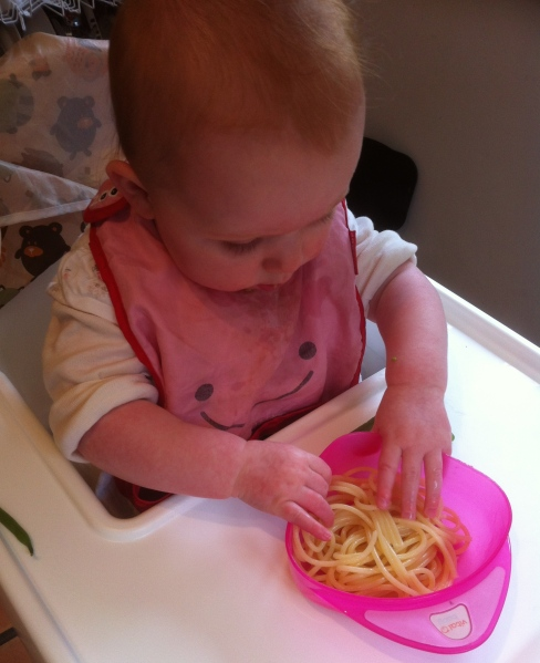 """Are you really letting me loose on this bowl of pasta? More fool you, Daddy!"""