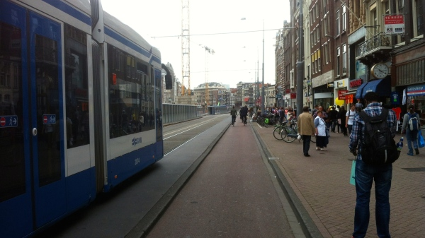 Good separation from cars, trams and people