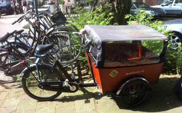 A bakfiets Dutch cargo bike