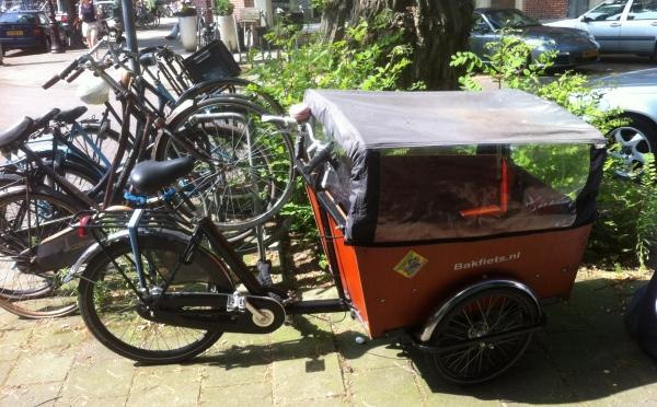 A bakfiets Dutch cargo bike
